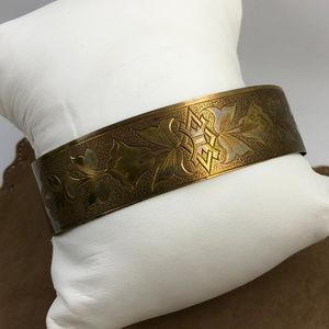 Antique Victorian Cuff Bracelet 10KGF Flower Motif